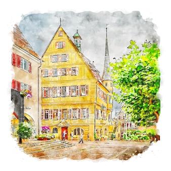 Bietigheim altstadt 독일 수채화 스케치 손으로 그린 그림