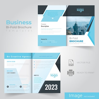 Bifold blue abstract brochure design