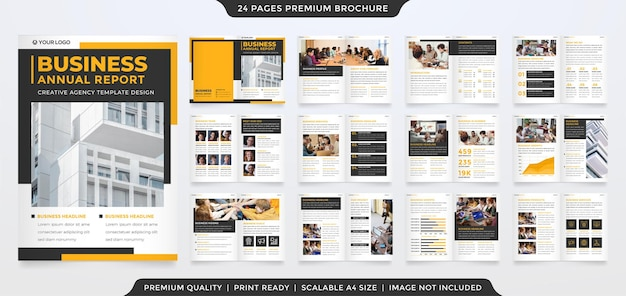 Bifold brochure template design with clean style and minimalist concept