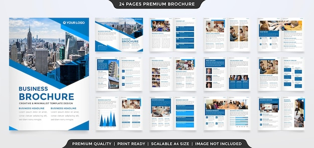 Bifold brochure template design with creative and minimalist style