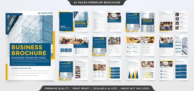 Bifold brochure template design with minimalist and clean style