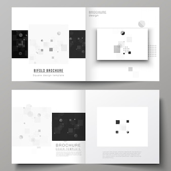 Bifold brochure with abstract minimal design in black and white