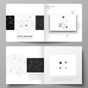 黒と白の抽象的なミニマルなデザインと二つ折りパンフレット