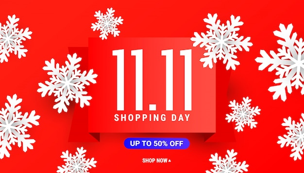 Большой 11.11 распродажа скидка баннер шаблон с белыми снежинками на красном