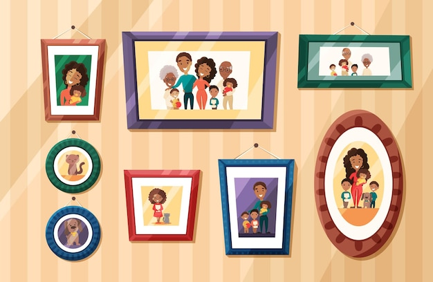 Big african american family photos portraits in colored frames on wall