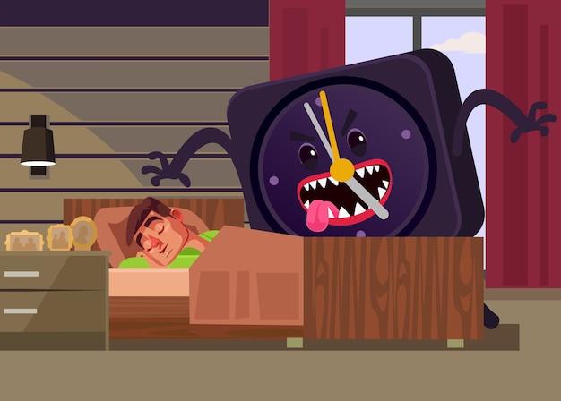 大きな目覚まし時計モンスター攻撃眠っている疲れたサラリーマン男のキャラクター。月曜日の朝遅くのコンセプト。