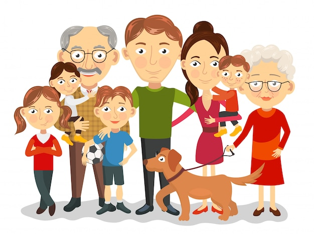 어린이, 부모, 조부모 일러스트와 함께 크고 행복한 가족 초상화