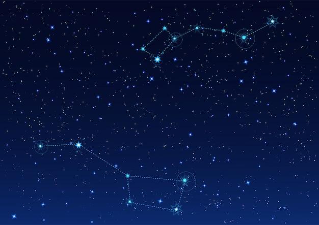 크고 작은 국자 별자리. 북극성. 별이 빛나는 밤하늘