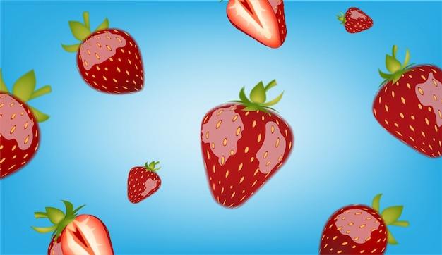 青色の背景に大小のイチゴ