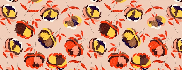 Big autumn peonies flower pattern. warm seamless background. hand-drawn modern illustration of big flower heads with orange leaves on a solid colour.