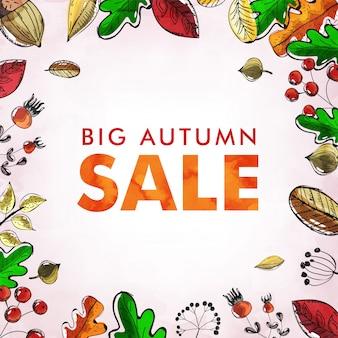 Big autumn sale background with doodles.