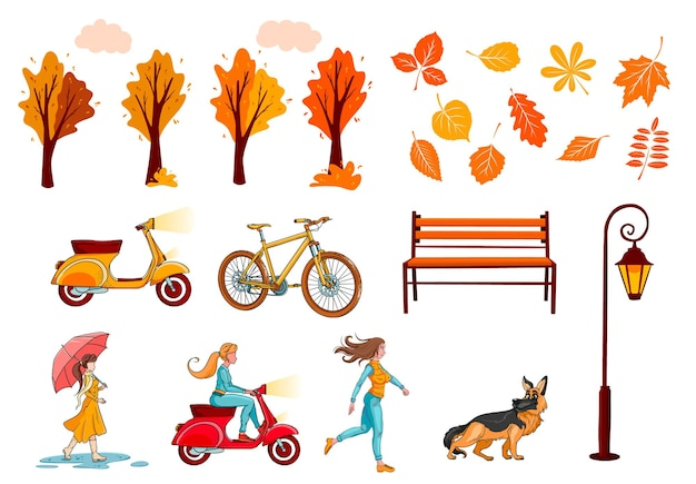 Big autumn set for creating banners and cards. yellow leaves, trees, bench lantern, girl. cartoon style. vector illustration for design and decoration.