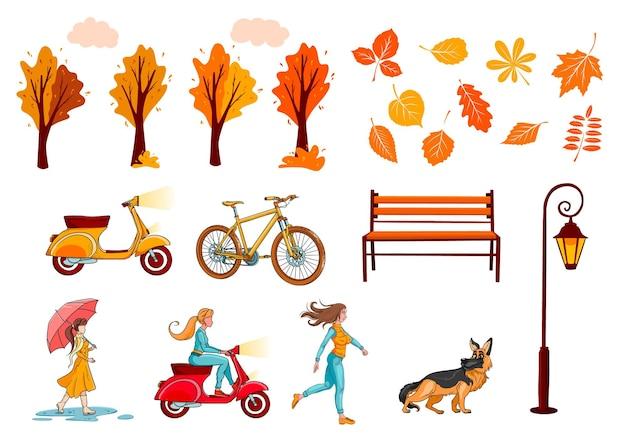 Большой осенний набор для создания баннеров и открыток. желтые листья, деревья, скамейка-фонарь, девушка. мультяшный стиль. векторная иллюстрация для дизайна и декора.