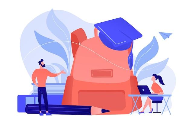 Учитель с большим рюкзаком говорит и студент с ноутбуком