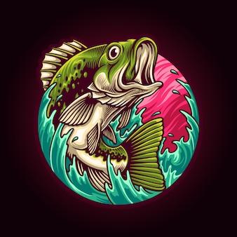 Большой бас рыбалка иллюстрация