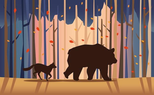 Большой медведь и лиса в пейзажной сцене