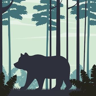 Большой медведь животное в пейзажной сцене