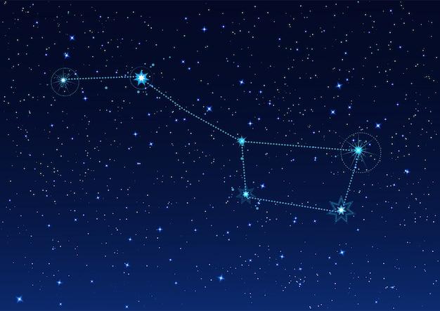 별이 빛나는 밤하늘에 큰 곰 별자리 프리미엄 벡터