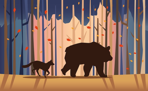 Big bear and fox animals in the landscape scene