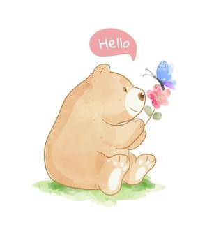 Большой медведь держит цветок и бабочку иллюстрации