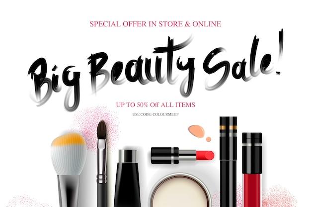 Большая распродажа красоты, баннер косметики для сезона покупок