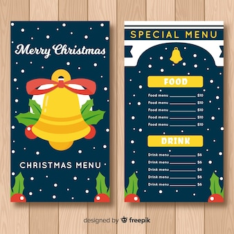Big bell with bow menu template