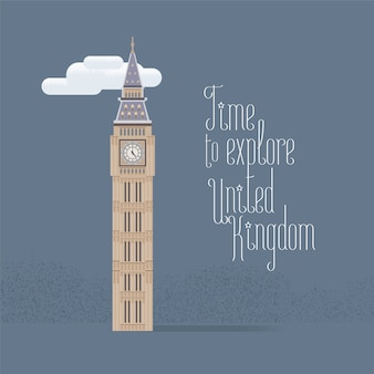 ロンドンのビッグベンベクトルイラスト。英国、英国、ロンドンへの旅行のコンセプトデザイン