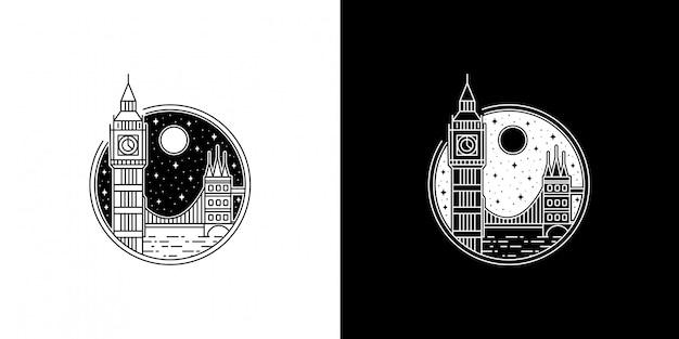 夜のビッグベンモノラインデザイン
