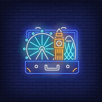Big ben, london eye in open suitcase neon sign