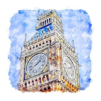 Биг бен лондон акварельный эскиз рисованной иллюстрации
