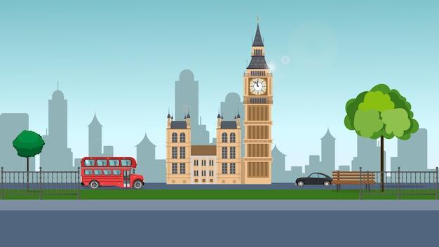 빅 벤. 빅 벤의 배경에 공원. 빨간 버스, 공원, 런던