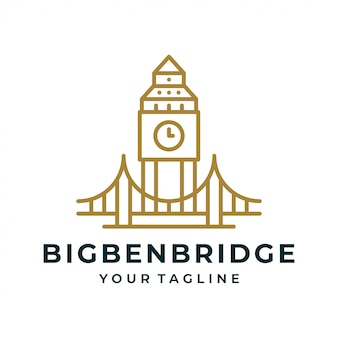 Big ben tower bridge logo and icon.
