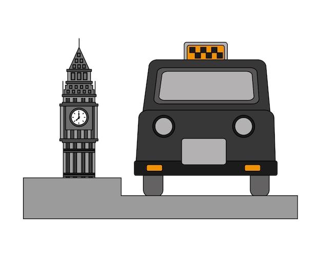 클래식 택시와 빅 벤 타워 영국