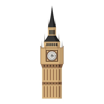 Big ben tower in flat style isolated.