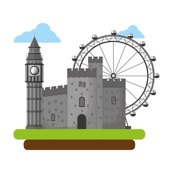 Big ben tower with antique castle and panoramic wheel