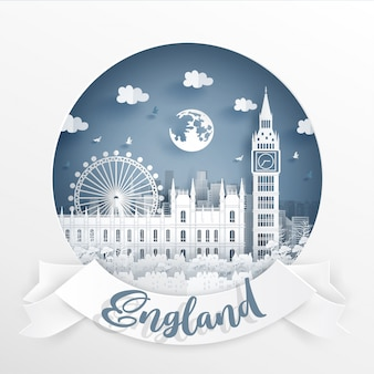Big ben, world famous landmark of england with white frame and label.