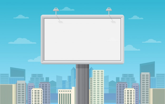 Big blank billboard on cityscape