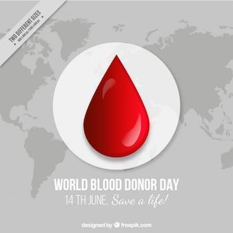 Большой капли крови и карта мира фоне