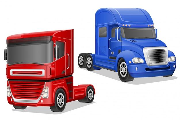 Big blue and red trucks vector illustration