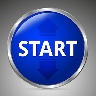 Big blue start button on a gray background. 3d style.