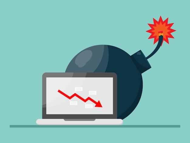 빨간색 화살표가있는 큰 폭탄은 노트북 화면, 경제 위기 개념 그림에 떨어집니다
