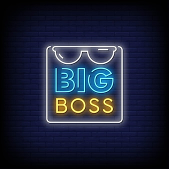 Big boss neon signs style text vector