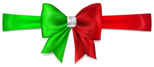 흰색 배경에 그림자가 있는 이탈리아 국기 색상의 리본으로 만든 큰 활