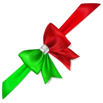 Big bow made of ribbon in italy flag colors with shadow on white background