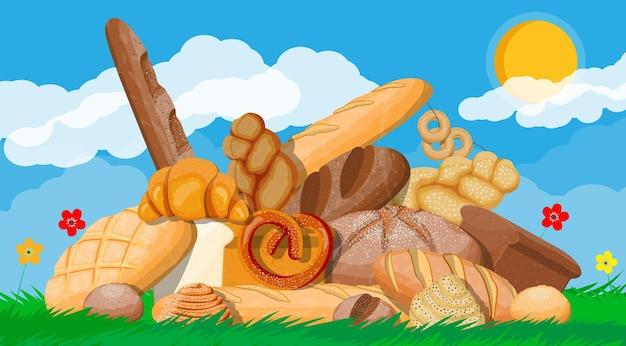 大きなパンのアイコンを設定します。自然草の花雲と太陽。全粒粉、小麦とライ麦パン、トースト、プレッツェル、チャバタ、クロワッサン、ベーグル、フレンチバゲット、シナモンパン。フラットスタイルのベクトル図