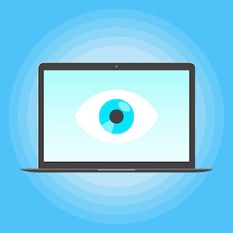 노트북 모니터의 화면에 큰 눈으로 감시하는 빅 브라더 개념 노트북