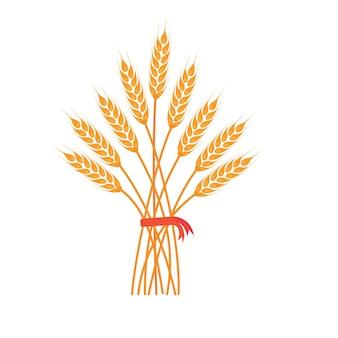 Большая гроздь пшеничных колосьев ячменя или ржи с цельнозерновыми и сухими листьями золотая пшеница