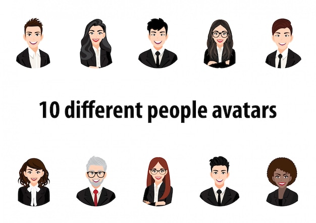 Big bundle of different people avatars. set of male and female portraits. men and women avatar characters. user pic, face icons for representing person in a video game, internet forum, account.
