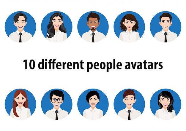 さまざまな人々のアバターの大きな束。男性と女性の肖像画のセットです。男性と女性のアバターキャラクター。ユーザーの写真、ビデオゲーム、インターネットフォーラム、アカウントで人物を表すための顔アイコン。