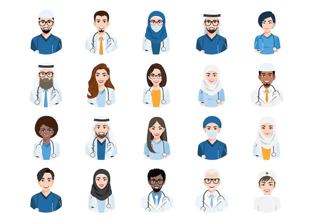 さまざまな人々のアバターの大きな束。医療や医師のチームの肖像画のセット。男性と女性のアバターキャラクター。